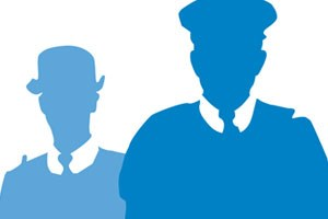 Two silhouettes of officers