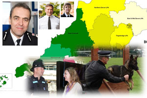 Map of Devon & Cornwall and police officers