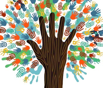 Tree of many different coloured hands