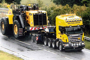 Large lorry with a large plant vehicle on the back