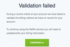 Your validation to update your billing details click here. Don't