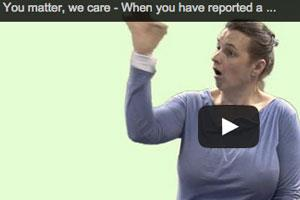 British sign language video - Report a crime