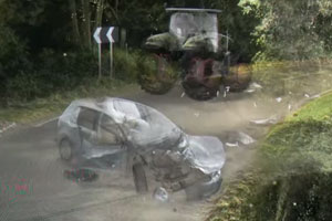 Car and Tractor crashed on a counrty road
