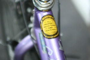 A property marked sticker on a push bike