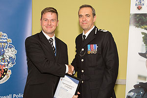 Darren Webb collecting a reward form the Chief Constable