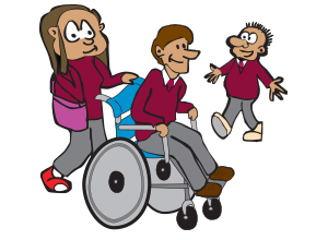 Three friends chatting one in  a wheel chair