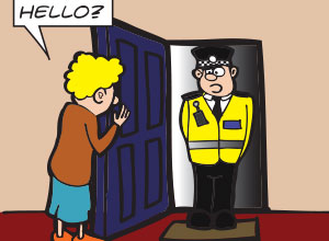 Shoplifting - A police officer talking to the mother of a young shoplifter