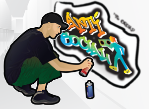 Young man spraying on image on a wall