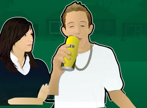A lad drinking from a can while a girl watchs