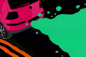 Pink car pulling away from curb with green smoke coming from exhaust (drawing)