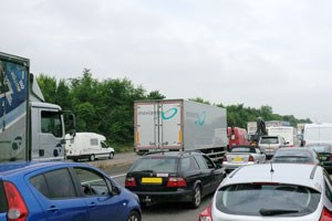 Traffic jam on M5 just outside of Oakhampton