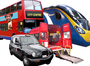 A picture of a bus, taxi, train and mini bus