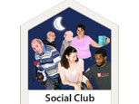 Social club, people drinking tea and playing bowls