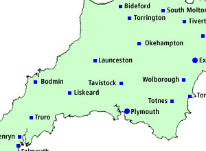 A map of Devon and Cornwall with the locations of the borough police indicated