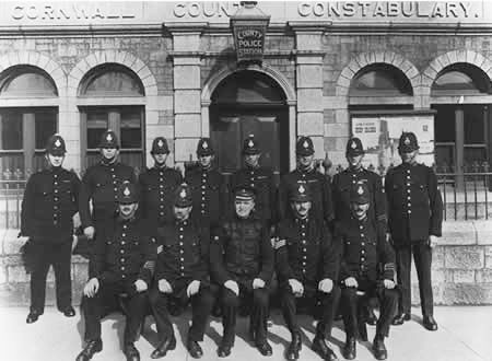 The superintendent outside Falmouth station with his two sergeants and constables
