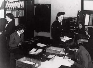 Women Police Officers working in Plymouth in an office during the war