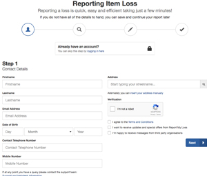 Report my loss form page