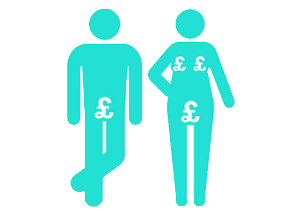 Icon of male and female body with £ signs over their private areas