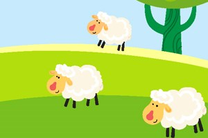 Three sheep on a green hill under some trees