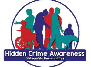 Graphic of a group of people, text reads: Hidden Crime Awareness