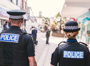 Two officers walking along Exmouth highstreet